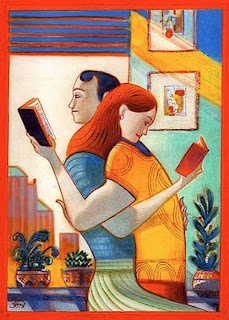 illustration by italian illustrator lorenzo matteoti of a couple reading