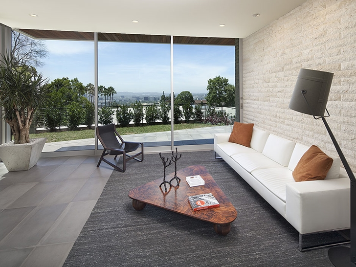 Second sitting room in Sunset Plaza Drive modern mansion in Los Angeles