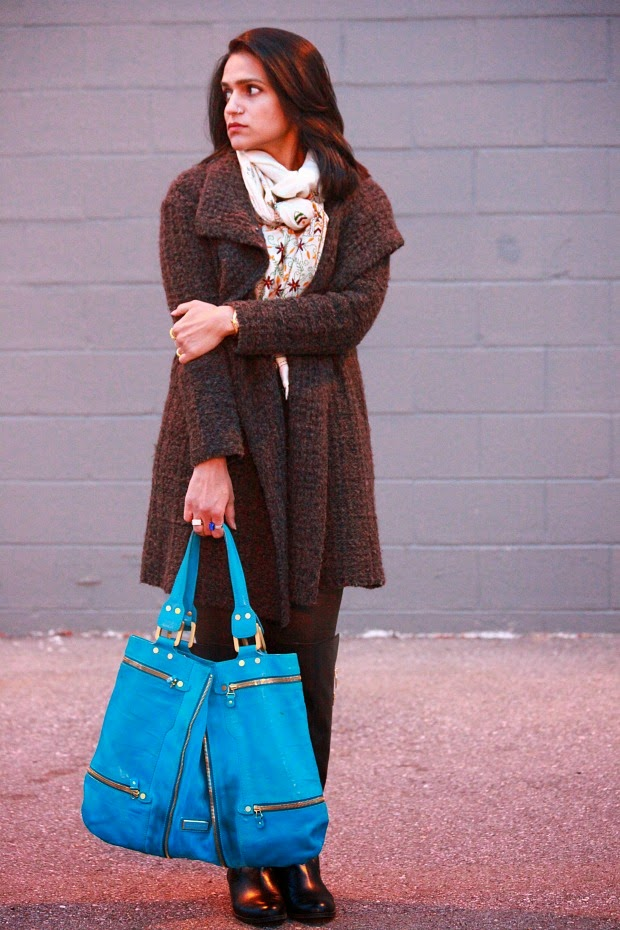Wool Coat - Eileen Fisher, Leggings - BCBG, Scarf - Gift, Bag - Jimmy Choo, Boots - Calvin Klein, Tanvii.com