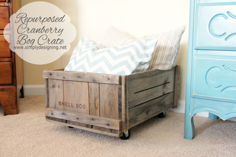 Repurposed Vintage Cranberry Bog Crate | learn how to make a crate into a rolling home storage option - simply | #diy #crate #storage