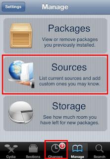 Cydia Manage tab