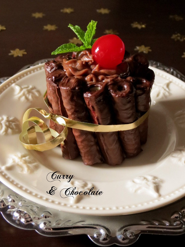 Mini charlotte de mousse de chocolate