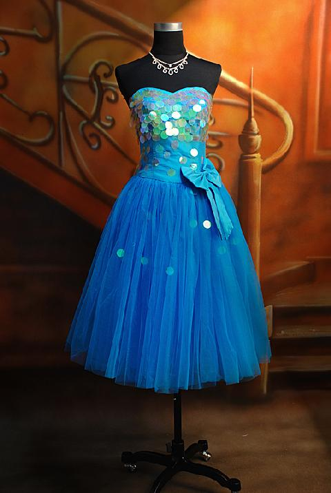 modern prom dresses in blue short wedding dress