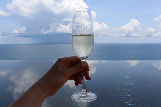 Champagne at the Paresa Phuket infinity pool, Thailand | travel blog