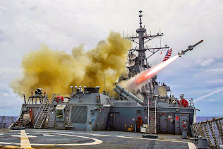 USS STETHEM LAUNCHES HARPOON MISSILE DURING EXERCISE