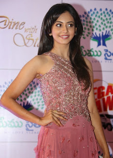 Actress Rakul Preet Singh Latest Pictures in Long Dress at Memu Saitam Dinner with Stars Red Carpet  7).jpg