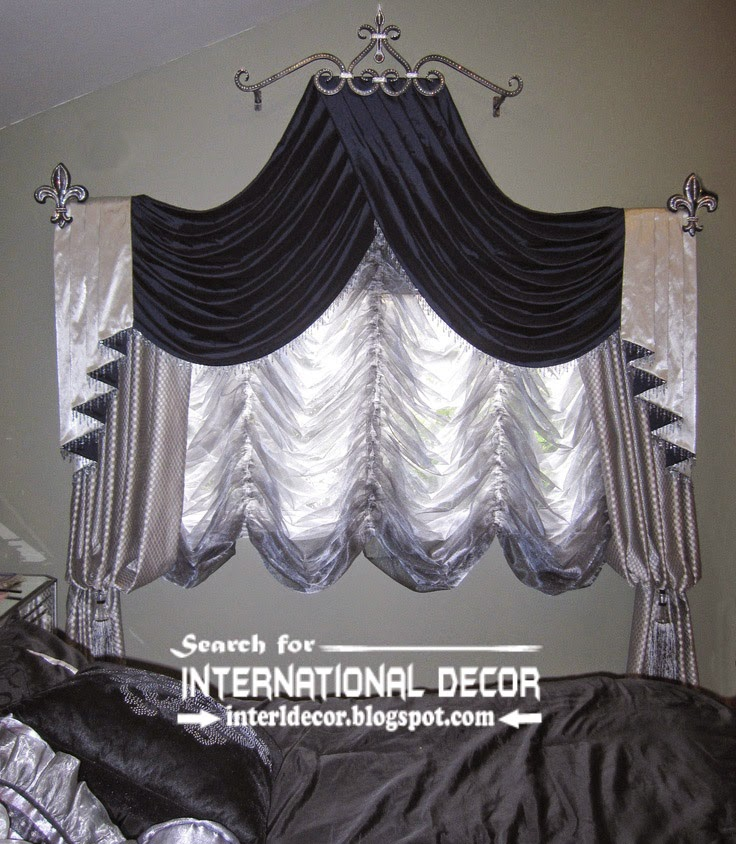 Silver and black swag curtains french bedroom curtains 2015 black