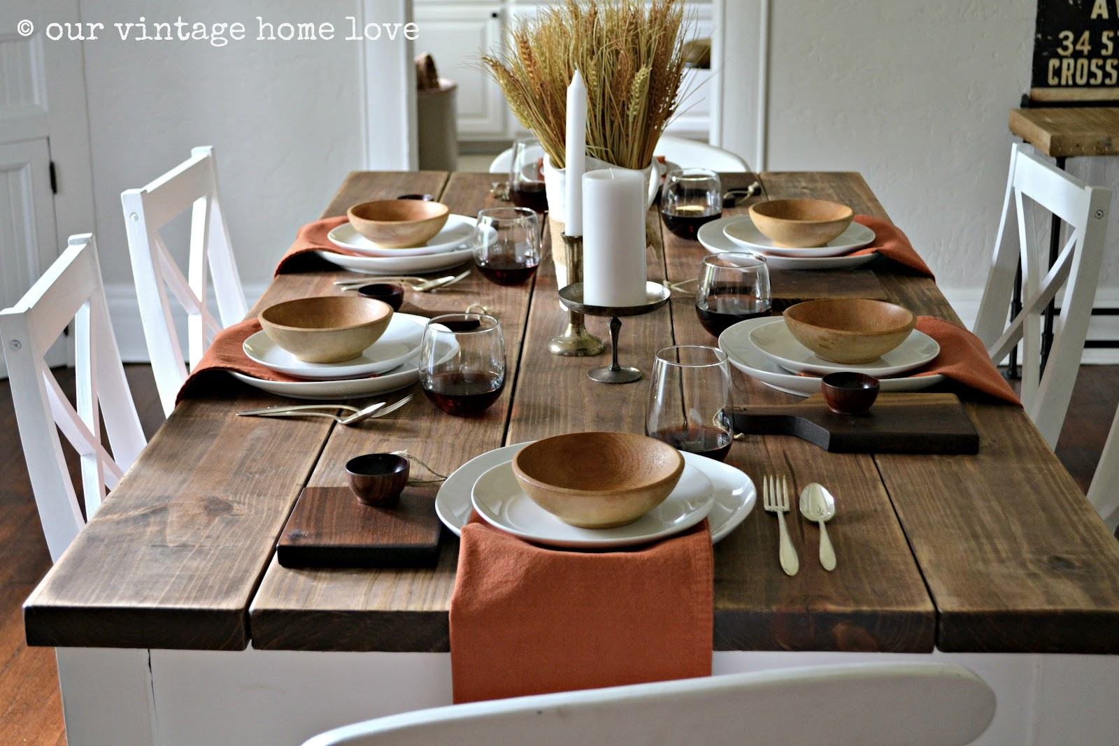 Autumn Table Decor and a Vintage Industrial Table & vintage home love: Autumn Table Decor and a Vintage Industrial Table