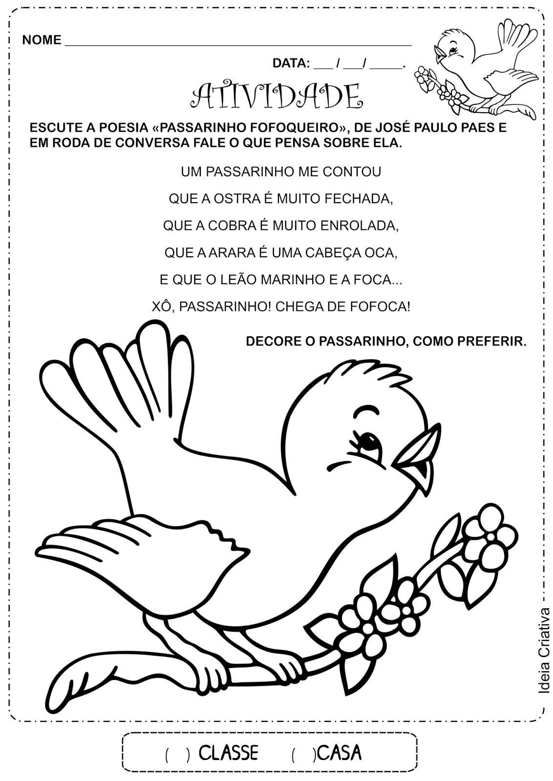 Atividade Educação Infantil Poesia