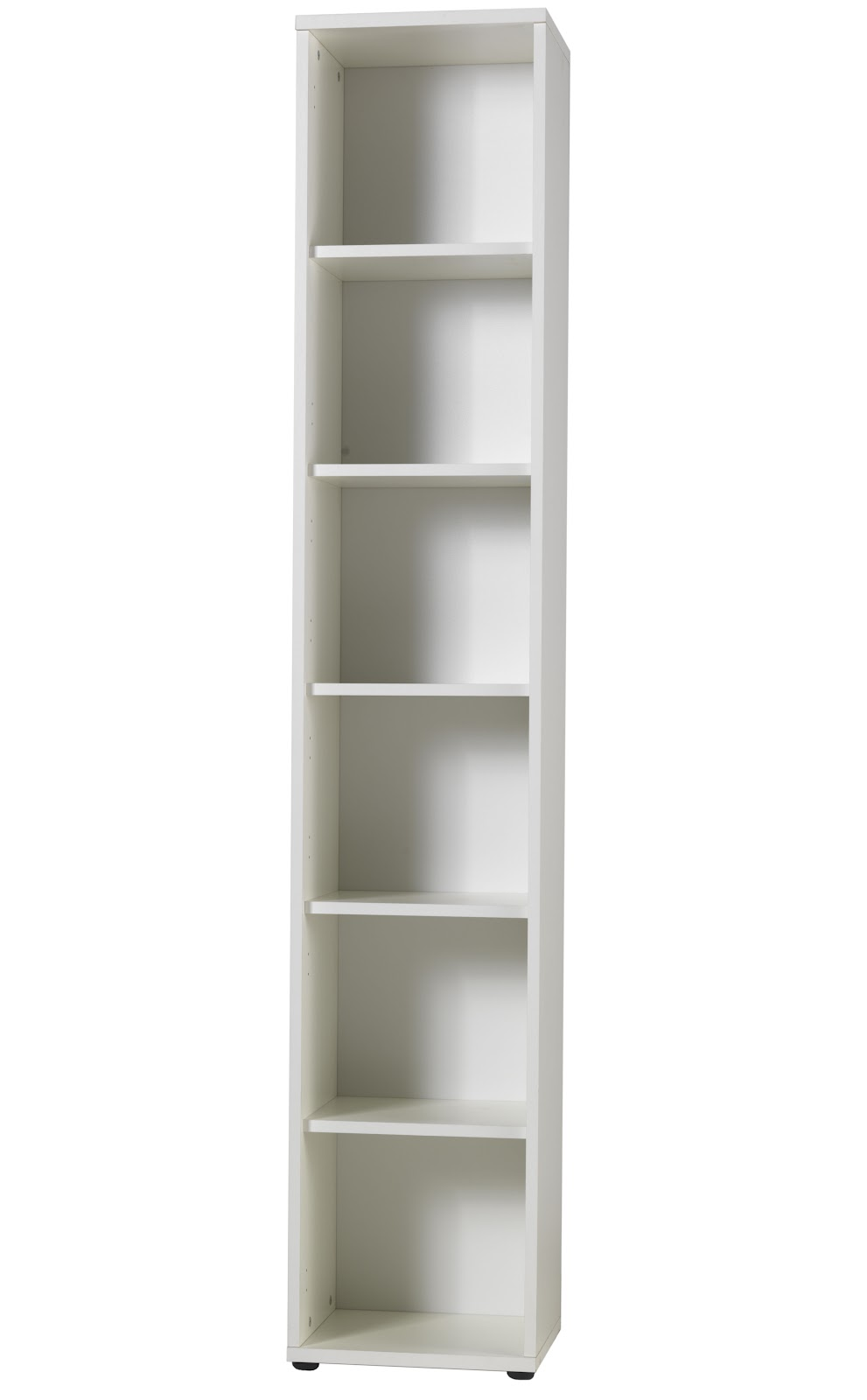Five Shelf Narrow Bookcase H x 2167mm, D x 362mm, W x 400mm. Hard wearing  melamine. Code: 71400451