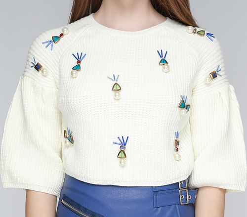 Embellished Cropped Knit Top