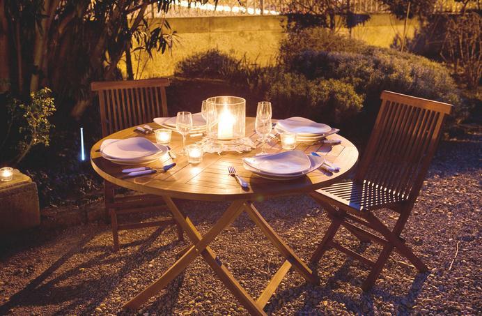 Table de jardin ronde teck