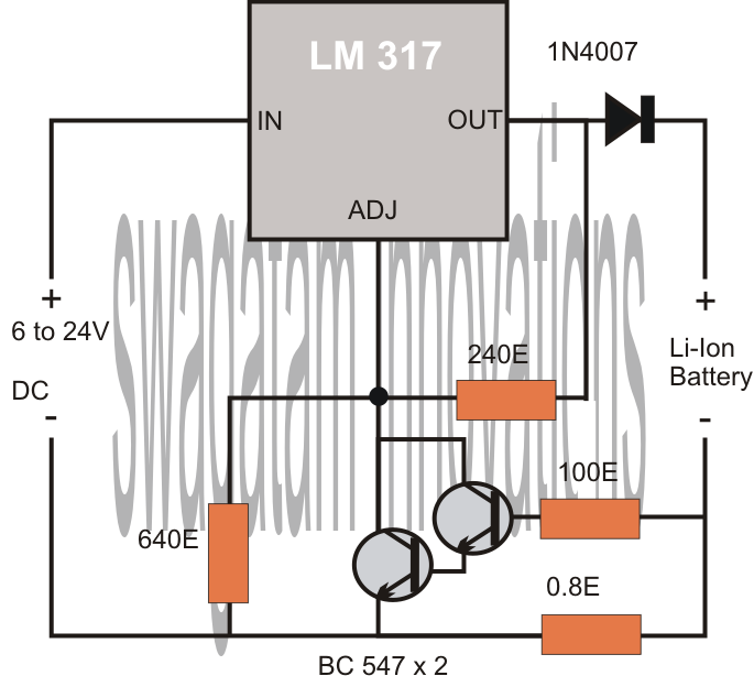 Simplest, Safest Li-Ion Battery Charger Circuit ~ Electronic ...