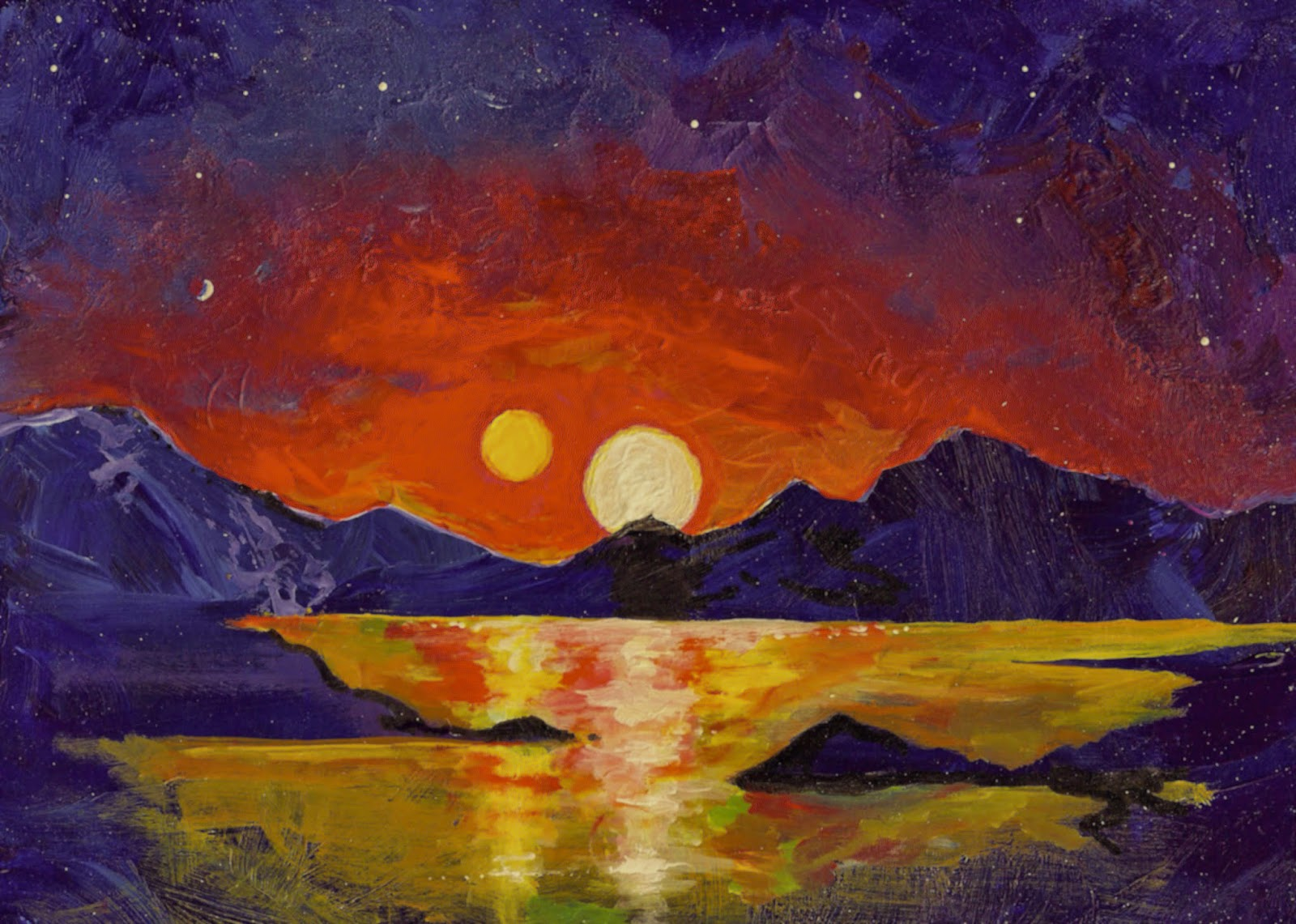 "In this acrylic painting, University of Utah astrophysicist Ben Bromley envisions the view of a double sunset from an uninhabited Earthlike planet orbiting a pair of binary stars. In a new study, Bromley and Scott Kenyon of the Smithsonian Astrophysical Observatory performed mathematical analysis and simulations showing that it is possible for a rocky planet to form around binary stars, like Luke Skywalker's home planet Tatooine in the ""Star Wars"" films. So far, NASA's Kepler space telescope has found only gas-giant planets like Saturn or Neptune orbiting binary stars. Photo Credit: Ben Bromley, University of Utah"
