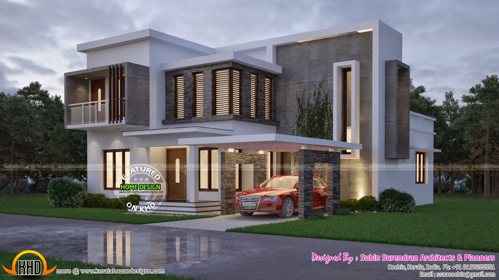 Front Elevation Of 240 Yards House : Contemporary sq yd home kerala design and floor