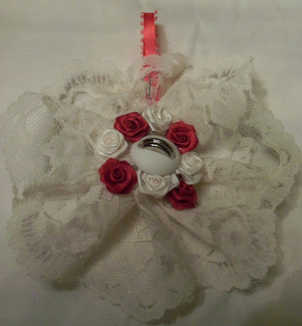 Lacey Red and White Rose Christmas Ornament