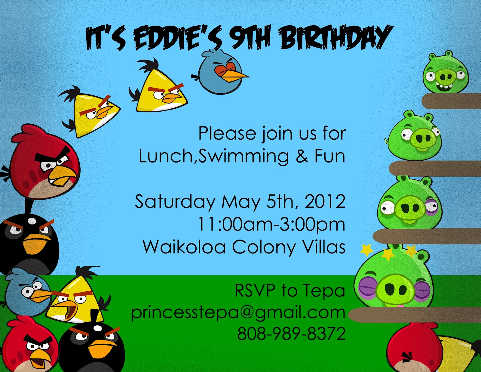 Princesstepa Angry Bird Thank Yous Birthday Party – Angry Birds Party Invitations