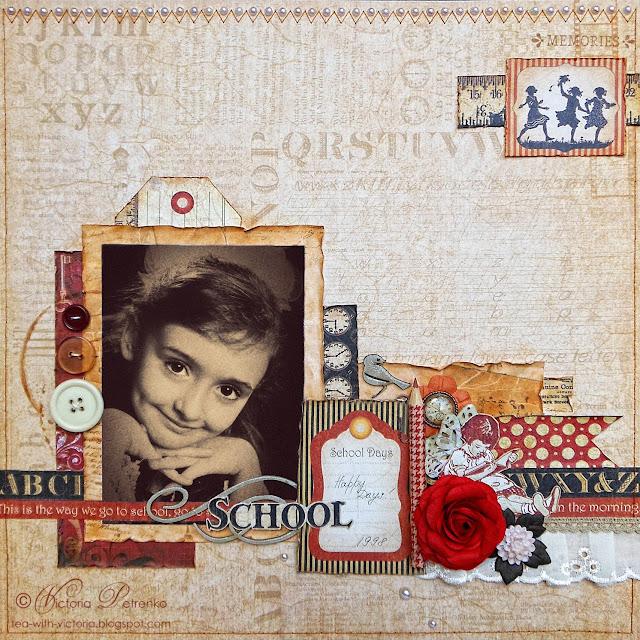Винтажная скрап-страничка с детским фото