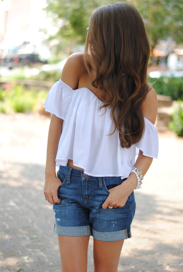 This off the shoulder white top is so cute