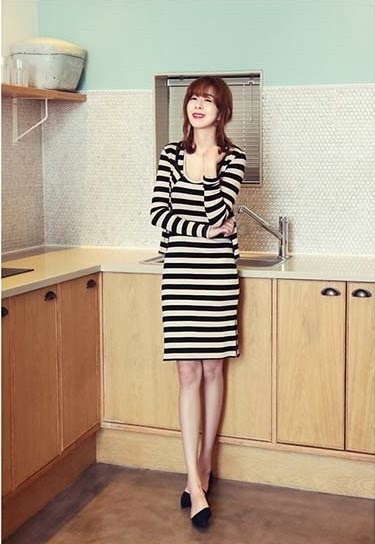 Baju: Dress Cardigan Garis Hitam Putih