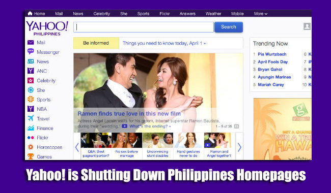 Yahoo! is Shutting Down Philippines Homepages