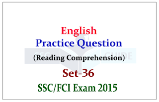 English Practice Question (Reading Comprehension) for SSC Exam