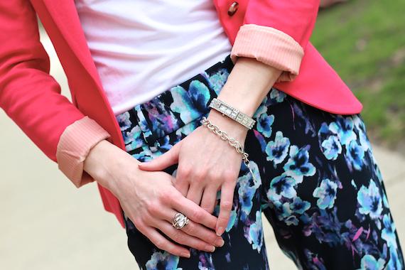 Blue, Turquoise, Purple Floral Pants, Pink Blazer | StyleSidebar