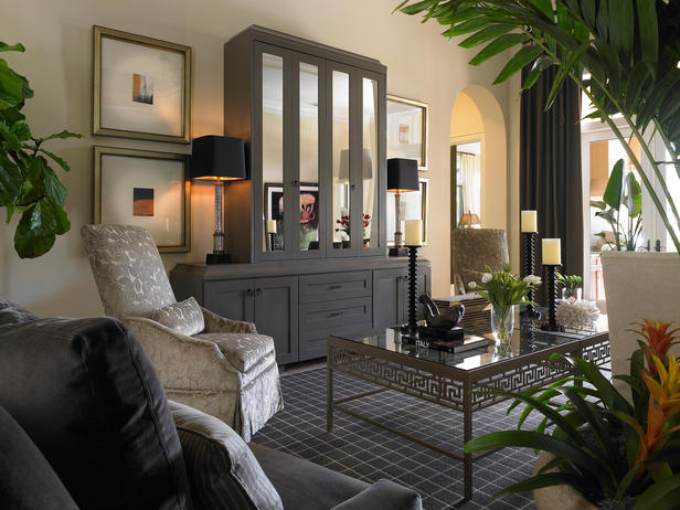 Interior design home decor furniture furnishings - Living room with mirrored furniture ...