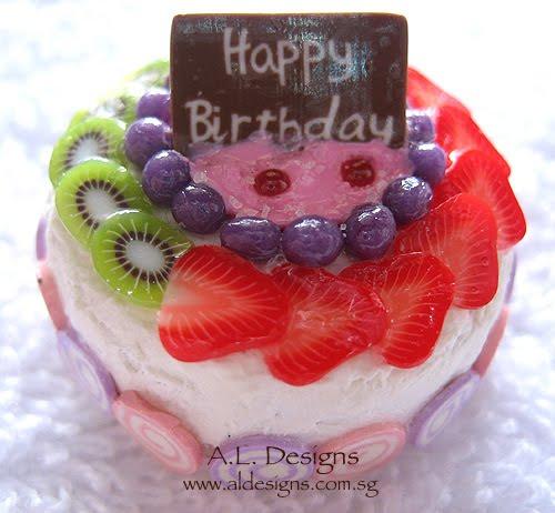 Where magic happens Happy Birthday Fruit Cake Miniature Food