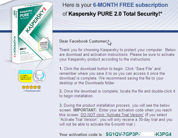 Free 6 months Kaspersky PURE 2.0 Total Security. kaspersky total security 2