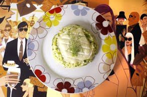 Tomino stagionato all'olio di nocciola farcito con risotto alle zucchine e finocchietto selvatico