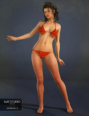 3d Models Art Zone - Frilly Triangle Bikini for Genesis 2 Female(s)
