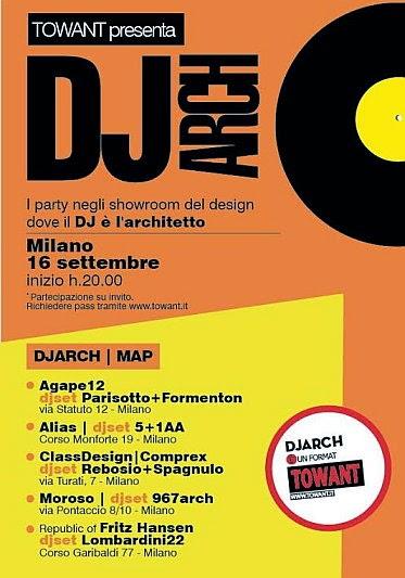 Il 16 settembre a Milano DJ ARCH: i party negli showroom del design dove il dj è l'architetto