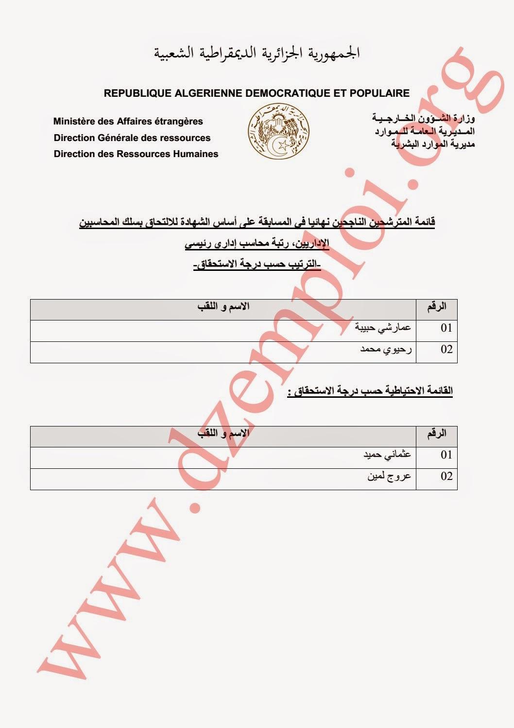 قائمة المترشحين الناجحين نهائيا في مسابقة وزارة الخارجية الخاصة برتب الأسلاك المشتركة 2014 3.jpg