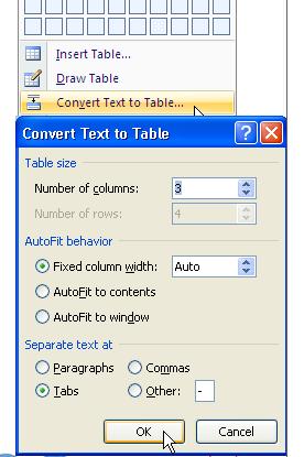 Một số chức năng thông dụng trong thao tác bảng