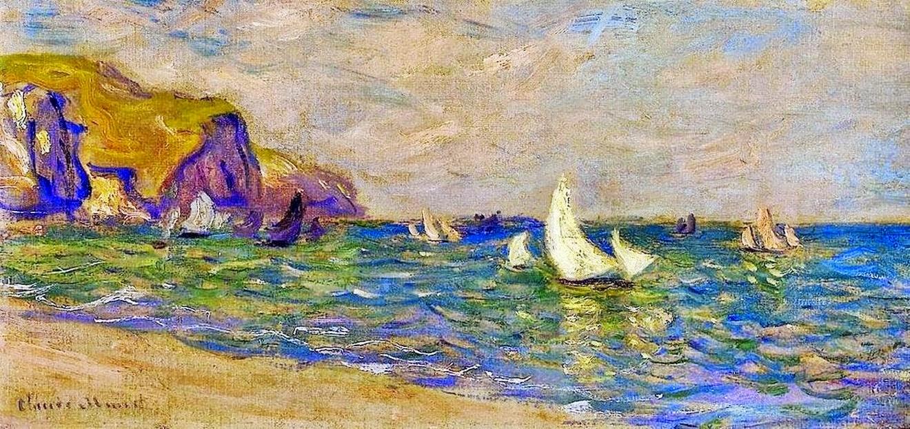 Voiliers en mer Pourville (1882)
