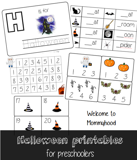 Halloween activities for preschoolers & Free printables by Welcome to Mommyhood #halloweenactivitiesfortoddlers #halloweenactivities #montessori