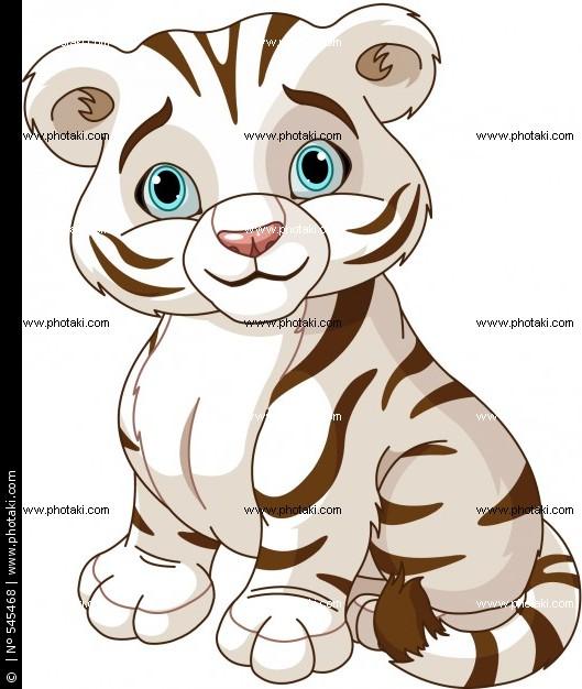 Cartoon White Tiger Cubs