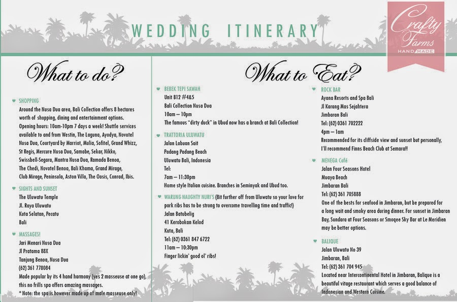 E-Itinerary Design for Fun Beach Wedding, What to Do and What to Eat,