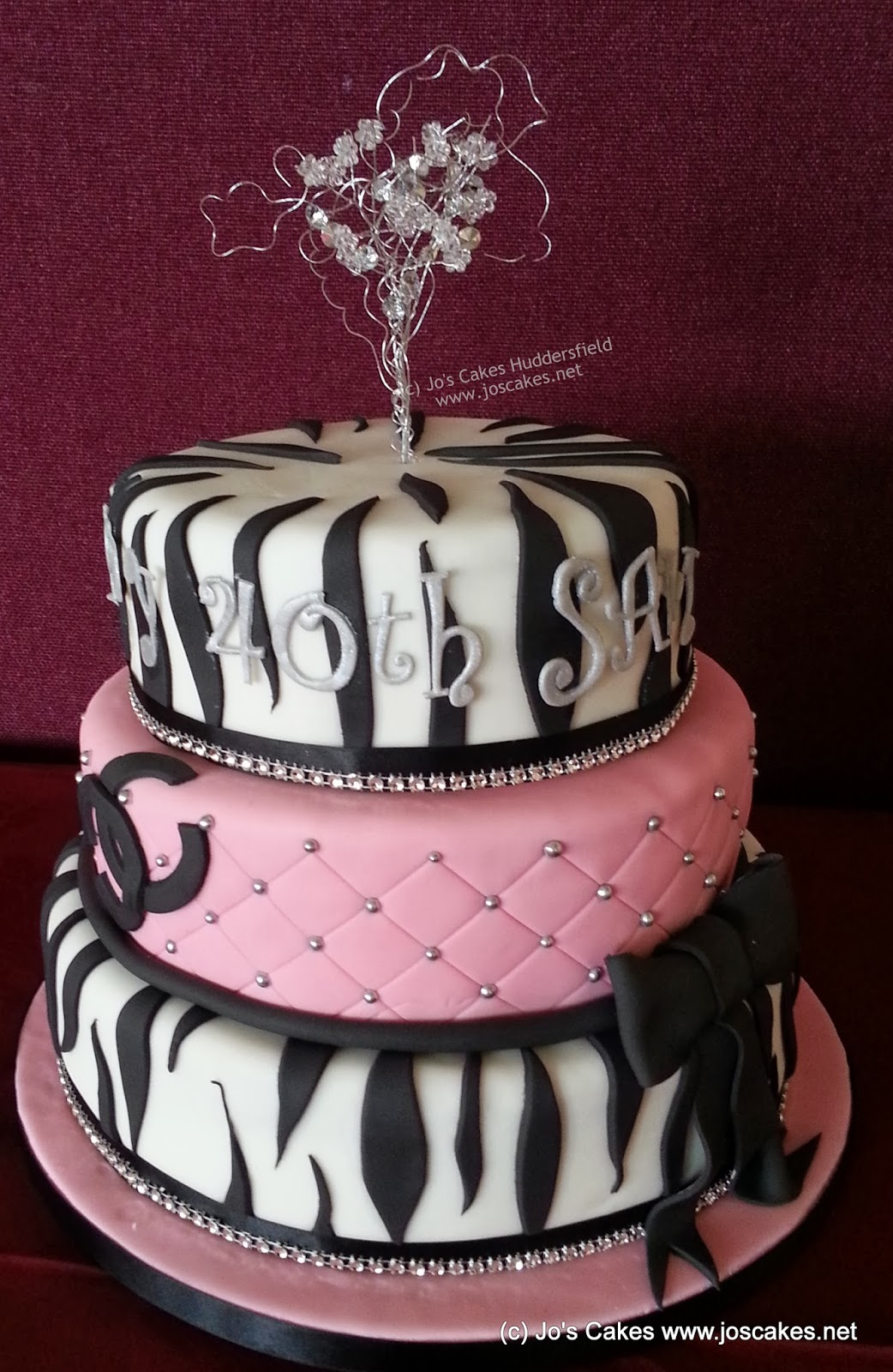 3 Tier Zebra And Pink 40th Birthday Cake