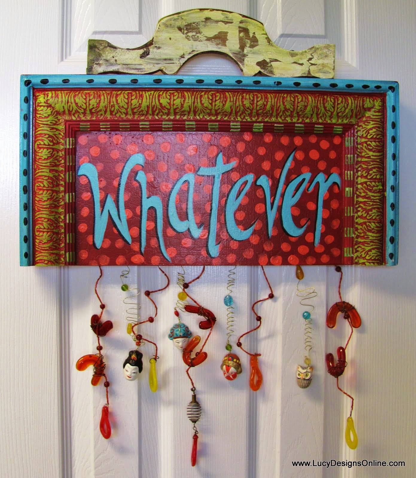 hand painted beaded funky sign