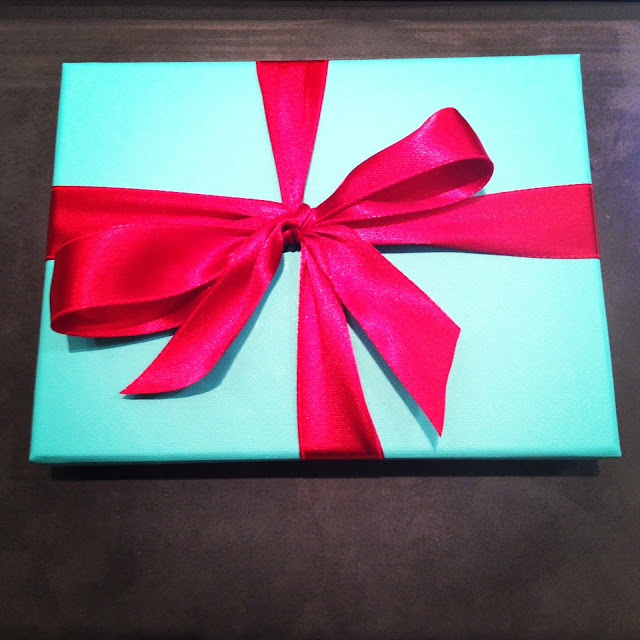 Christmas holiday gift present red bow Tiffany Co blue box