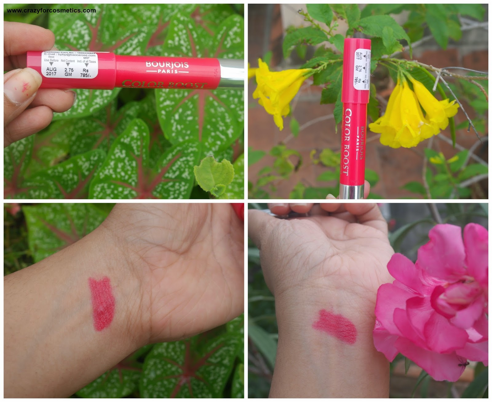Bourjois Paris Color Boost Lip Crayon in Red Sunrise Swatches for Indian women