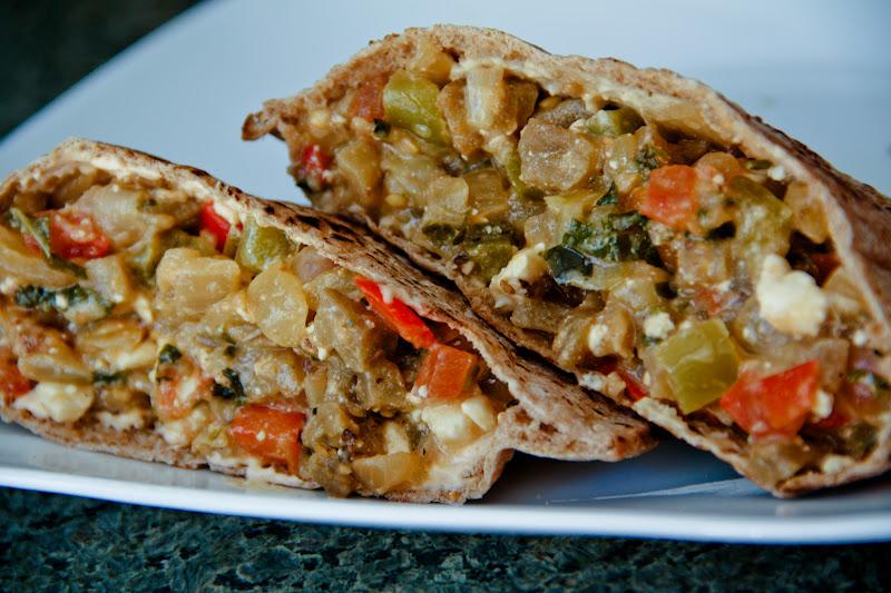 Greek-Style Eggplant Pita Sandwich (vegan option, gluten ...