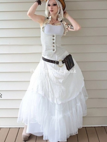 Striped and Ruffled Underbust Steampunk Vest with White Dress for Women