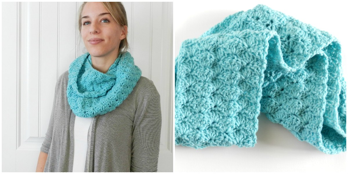 Double Crochet Infinity Scarf Free Pattern : Grow Creative Blog: Free Shell Infinity Scarf Pattern