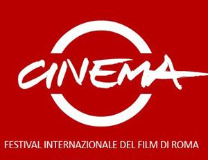 """Logo del Festival, la scritta """"Cinema"""" in bianco su fondo rosso"""