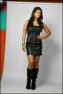 Sharmila Mandre in Spicy Black Mini Skirt Long Heels Spicy Black Leather Tank Top