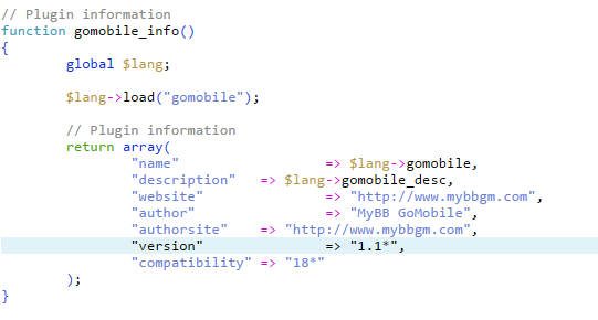 mybb gomobile plugin version for v 1.8.4