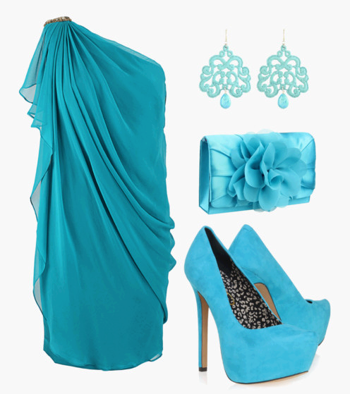 New style blue blouse, high heel shoes with matching ear rings and hand bag for ladies